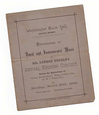 Programme ~ Mr Lorden Cockle's Annual Evening Concert Westminster Town Hall 1893