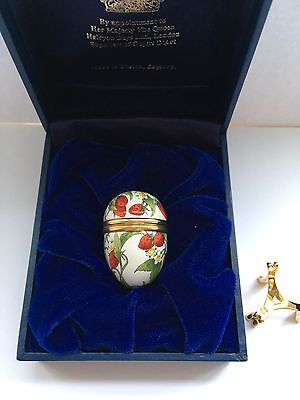 Halcyon Days Enamels Small Strawberry  Egg Boxed, Gilded Stand.
