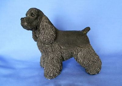 Old RARE Black Cocker Spaniel Cold Cast Marble Dog Figurine Signed Dated 1988