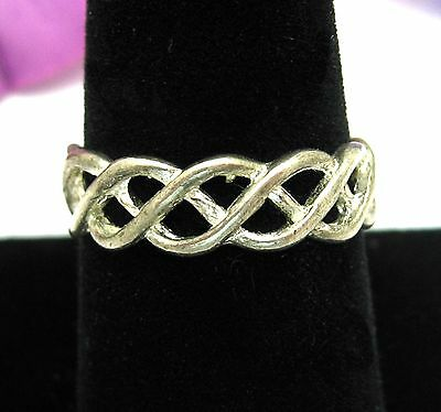 Openwork BRAIDED RING Vintage Band, Open Work Silvertone Costume Jewelry Size 9