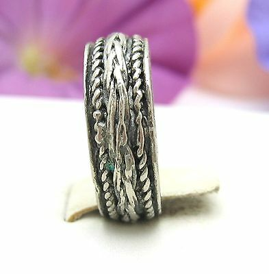 ROPE Design BAND  RING Vintage Silvertone Size 8 Primitive Costume Jewelry