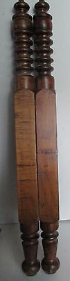 "PAIR OF ANTIQUE SPOOL TURNED SOLID WOOD BED POSTS 36 1/2"" high"