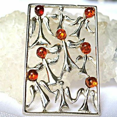Baltic Amber Guardian Angels Solid 925 Sterling Silver Pendant~Reiki~Jewellery