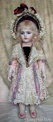 Bru jne 13 porcelain doll 24 inch Silk Velvet & Antique laces  Emily Hart Dolls