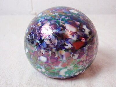 1999 Gibson Paperweight Blue End of Day Iridescent Art Glass Signed Dated Purple
