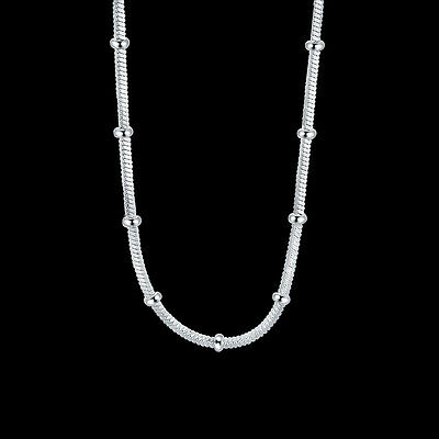925Sterling Silver Fashion Jewelry Box Chain Through Rings Woman Necklace NY960