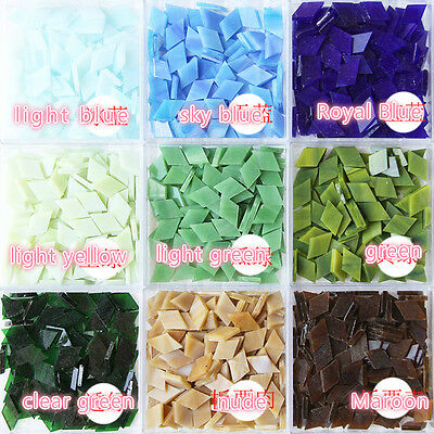 50g Rhombus Stained Glass Mosaic Multicolour Crystal DIY Particulate 60pcs New