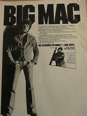 Mac Davis, Baby Don't Get Hooked On Me, Full Page Vintage Promotional Ad