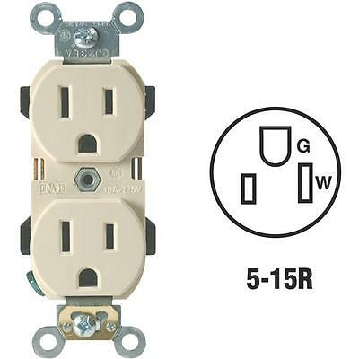3 Pk Leviton 15A Ivory Industrial Grade 5-15R Duplex Electric Outlet R51-5252I