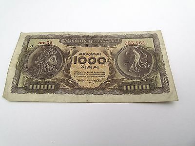 Vintage Old 1000 Drachmai Greece Greek  Bank Note Money Banknote