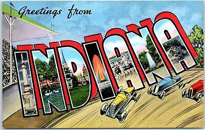 INDIANA Large Letter Postcard Indianapolis 500 Race KROPP Linen c1940s Unused
