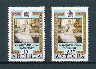 Antigua 584-5 MNH, Queen Mother 1980