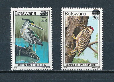 Botswana  289-90 MNH, Birds with New Surcharge, 1981