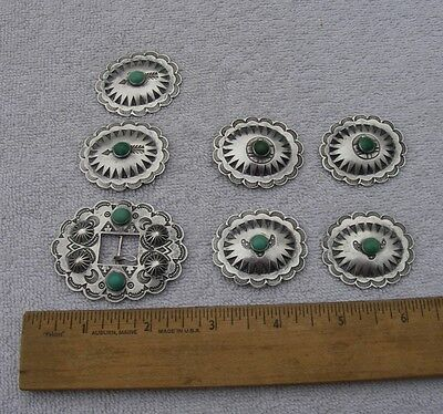 Vintage NAVAJO Silver & TURQUOISE BUCKLE & 6 CONCHOS-Womens Size-1/2 Inch Belt