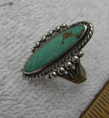 Vintage BELL'S TRADING POST Southwestern Sterling TURQUOISE RING-Size 6-NR