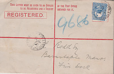 1891 Australian State Nsw 2 Pence Blue Emu Stamp On Registered Cover