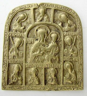 18th CENTURY RARE ANTIQUE RUSSIAN BRONZE ICON - MOTHER OF GOD w/ SELECTED SAINTS