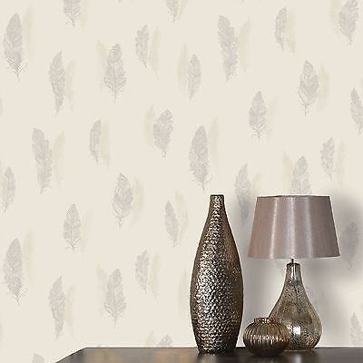 Quill Feather Wallpaper Holden Decor - Cream / Silver 11502 New Bedroom Feature