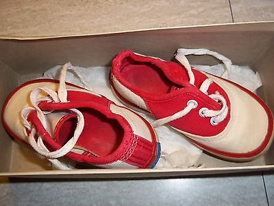 c1975 Vintage Keds Super Sport Childs Shoes Red and White USA Uniroyal size 5.5