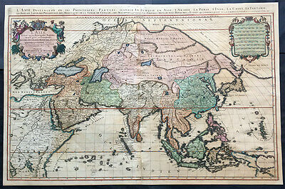 1692 Jaillot Very Large Antique Map of Asia China, SE Asia, Middle East, Russia