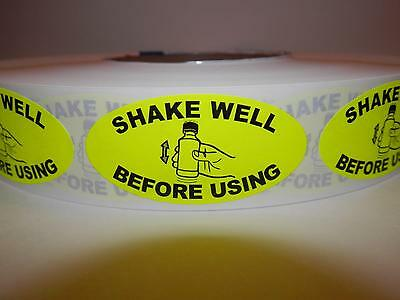 SHAKE WELL BEFORE USING 1x2 oval  Sticker Label  fluorescent chartreuse 250/rl