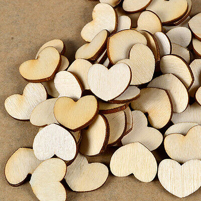 100X Cute Wooden Wood Love Heart Pieces Painting Craft Cardmaking Scrapbooking N