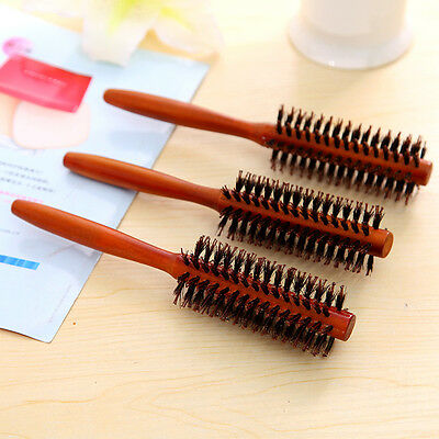 New Wooden Classic Round Radial Hair Brush Carbon Boar Bristles Tool