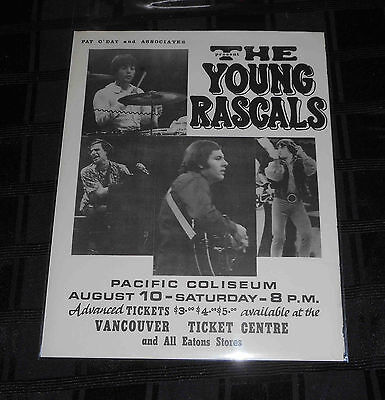 Rare Vintage The Young Rascals Concert Poster / Playbill Vancouver 1968 Original