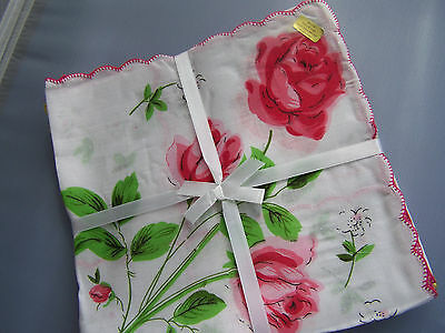 12 Vintage style ladies handkerchiefs; large roses in red, yellow & blue