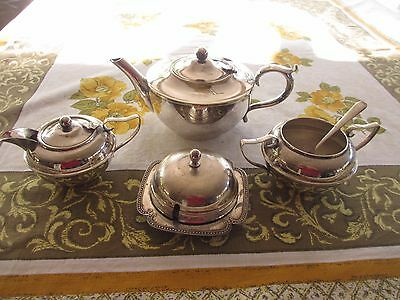 Vintage Silver Plated TEAPOT, SUGAR BOWL with spoon MILK JUG, BUTTER DISH lot