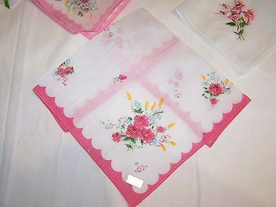 6 pc vintage style ladies' cotton handkerchiefs, mixed designs in pink  (Lot J)