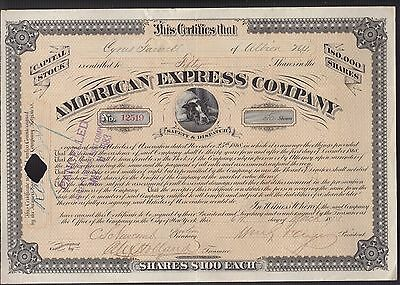 1873 AMERICAN EXPRESS CO - RARE Stock Certificate - signed WILLIAM G FARGO