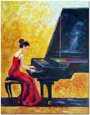 """20x24"""" Hand Painted Modern Impressionist Pianist Oil Painting On Canvas Wall Art"""