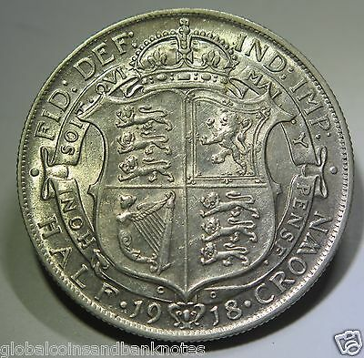 United Kingdom - 1918 King George V Silver Half Crown #1