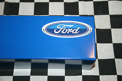 "16"" DARK BLUE TOOL BOX CAN HOLDER w/ FORD DECAL snap 2 use - hang on side tools"