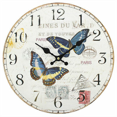 "New Blue Butterfly Wall Clock Hanging 34Cm 13.4"" Two Butterflies Cl_75811"