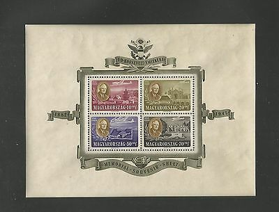 J16) Hungary Cb1 Mint Never Hinged Roosevelt Sheet No Creases Catalog $125