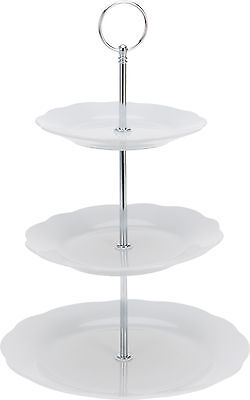 3 Tier White Wave Edge Porcelain Cake Stand Cupcake Stand Food Stand