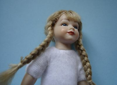 1:12 scale undressed dollhouse 4 inch girl doll with blonde braids & blue eyes