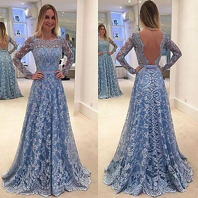 Women Lace Backless Formal Bridesmaid Dress Party Evening Gown Cocktail Dress