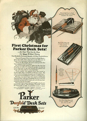 First Christmas for Parker Fountain Pen Desk Sets ad 1926 Santa Claus