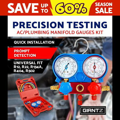 Air Conditioning Manifold Gauge System Testing Test Meter Hose Set Kit PROMO