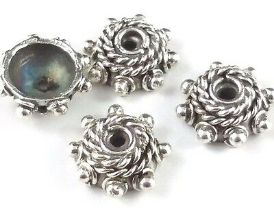 4 x Fancy 4.5mm Sterling Silver Wire Coil Oxidized Bead Caps Decorative (44)