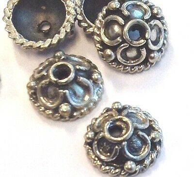 6 x Sterling Silver Oxidized 6mm Bead Caps Decorative Design (222)