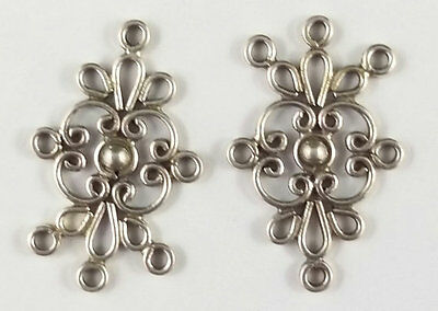 2 x Sterling Silver Chandelier Pendant Component Earring Connectors Bali (41)