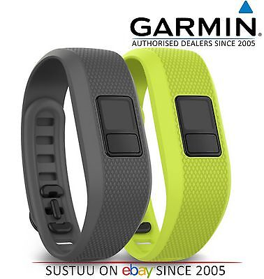 NEW Garmin Vivofit 3 Pack of 2 Gray/Green Fitness Activity Bands 010-12452-01