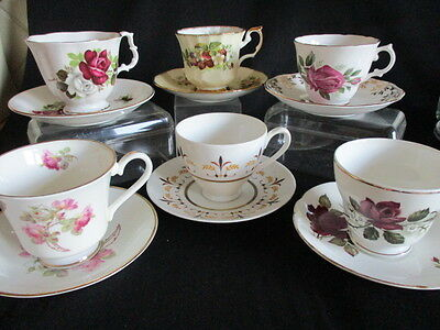 Vintage pretty china tea mismatched cups & saucers x 6 in lovely condition
