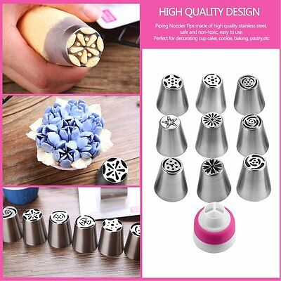 10 Pcs Russian Tips Icing Piping Nozzles Sphere Ball Pastry Tips & Converter XRA