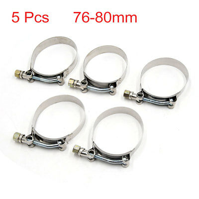 5Pcs 76-80mm Adjustable Screw Type 304 Stainless Steel Worm Gear Car Hose Clamp