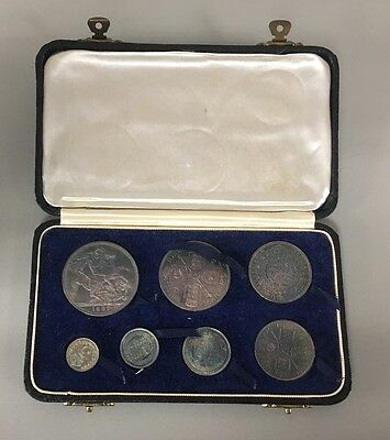 1887 Uncirculated 7 Coin Specimen Set Silver Bullion Stunning Boxed